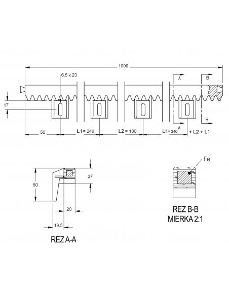 CAME CGZP Poplastovaný ozubený hrebeň 20 x 27 oceľové jadro (modul 4)