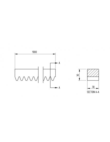 Oceľový ozubený hrebeň 30 x 30 (modul 6)