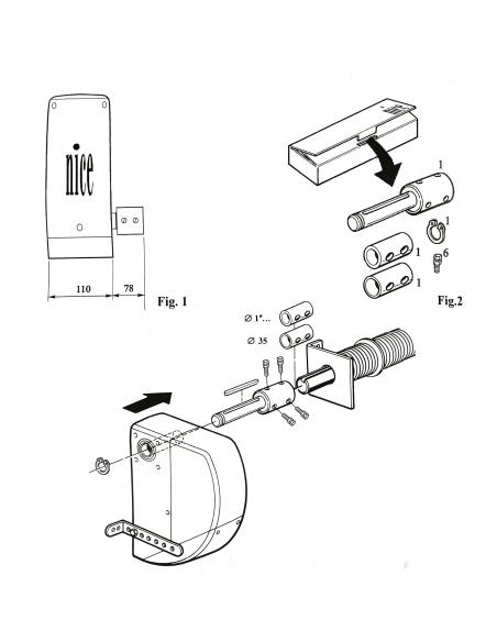 """NICE CRA9 adaptér pre hriadele 31,75 (1 1/4"""") / 35 / 40 mm"""