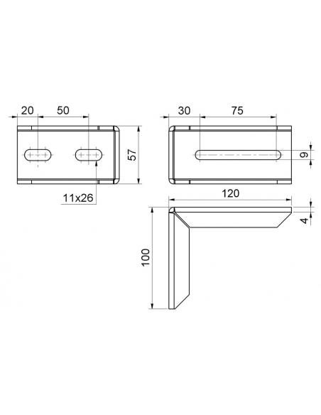 Univerzálna konzola L pre posuvnú bránu 120x100, Zn