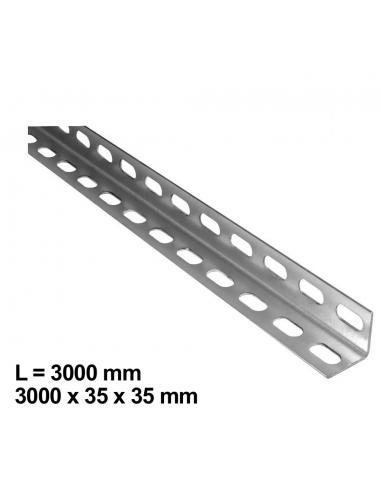 Uholníkový profil L-3000, 35x35x2mm, perforovaný-diera 23x9mm, vhodný pre montáž garážových brán