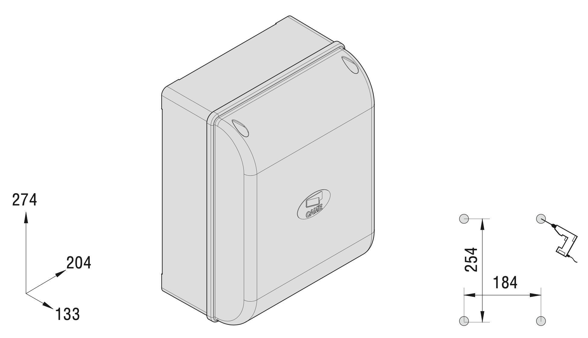 CAME Krabica elektroniky Rozmery