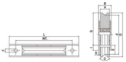 Koliesko C45 s 2 ložiskami s držiakom, výrez V