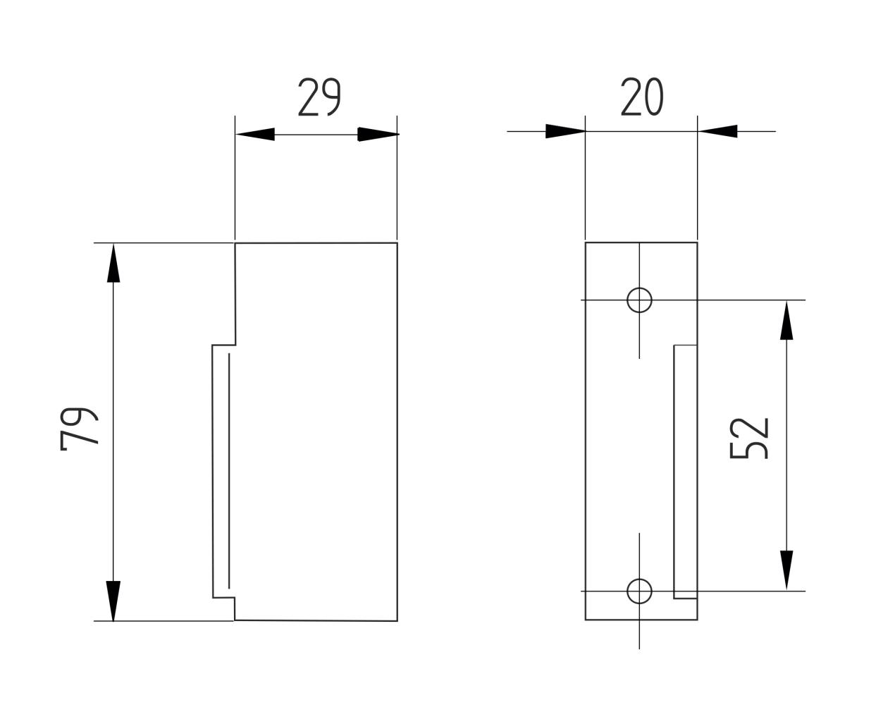 Elektromagnetický zámok, rozmery