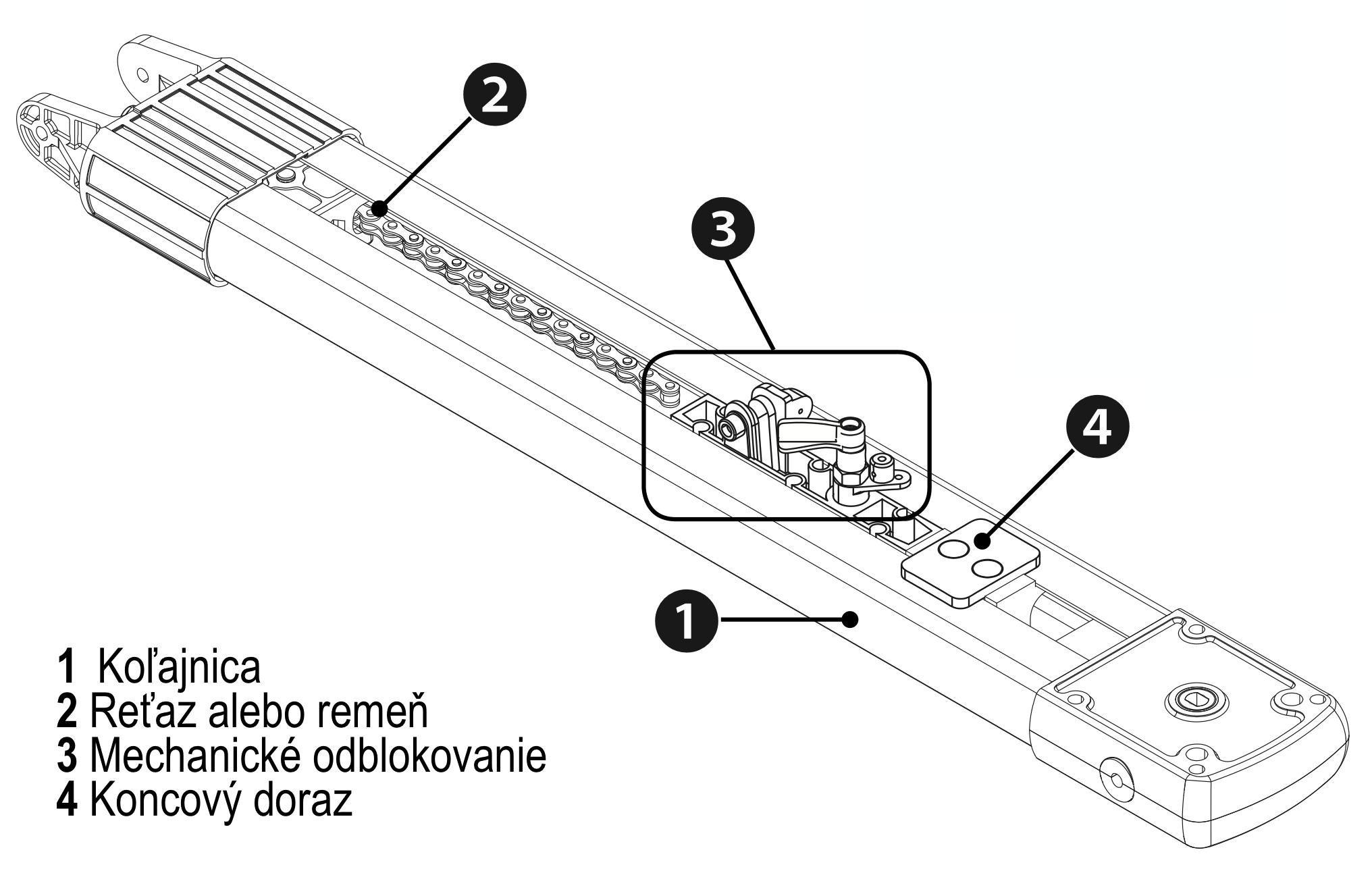 CAME Koľajnica VER10+/VER13+