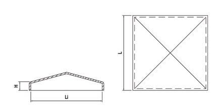 Kryt stĺpika na naváranie, štvorcový surový