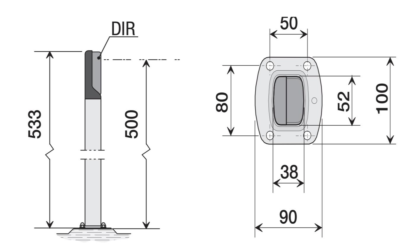DIR-L stĺpik rozmer