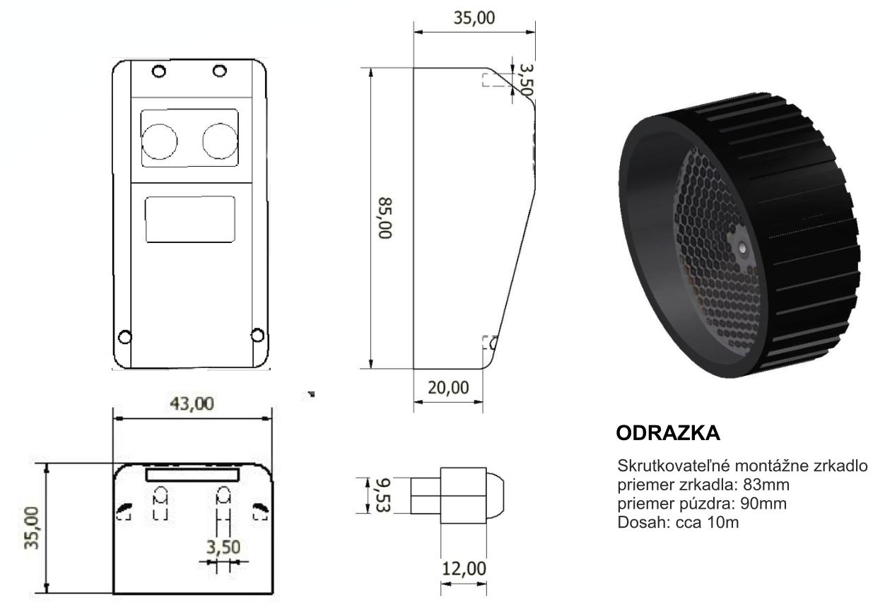 FTO-15 reflexná fotobunka rozmery