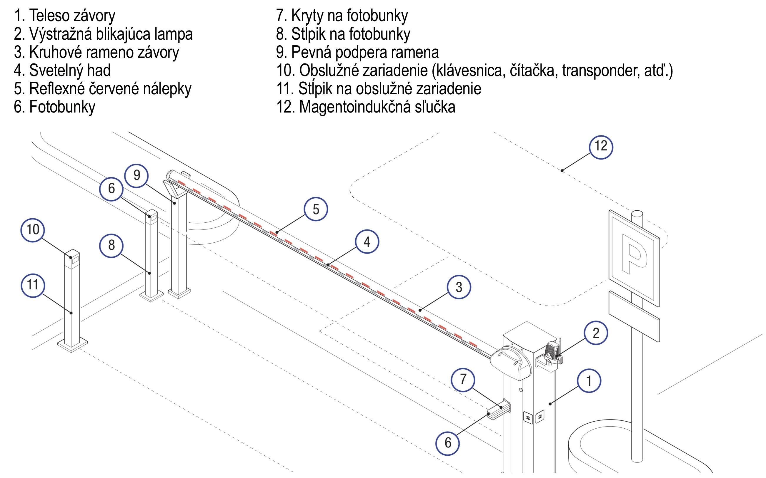 CAME G3750 závora - príklad inštalácie