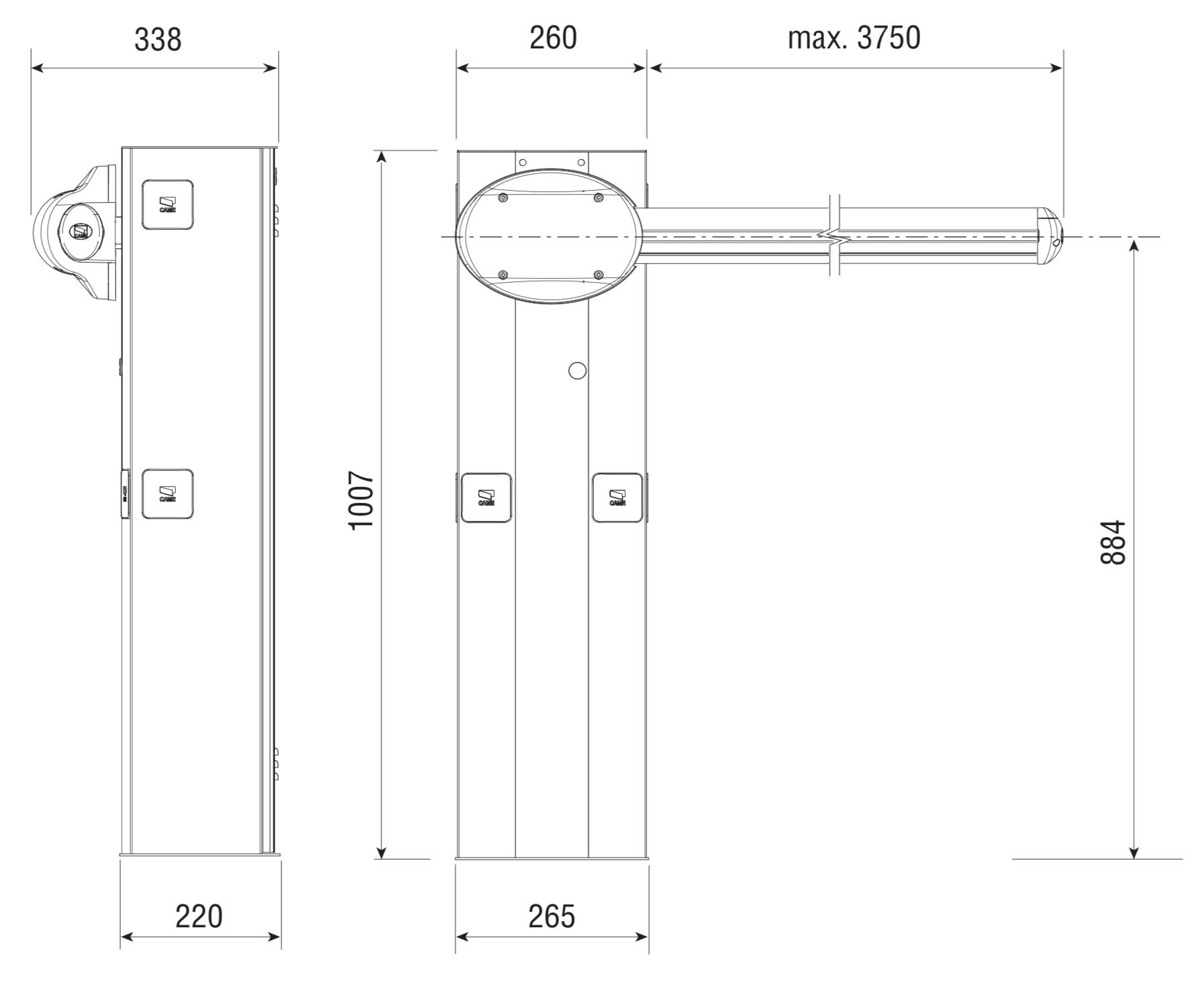 CAME G3750 závora - základné rozmery