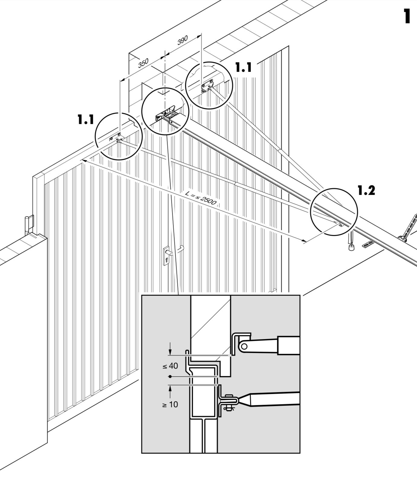 Hormann kolajnica pre 2-krídlové garážové brány