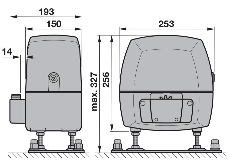 Hörmann LineaMatic Základné rozmery
