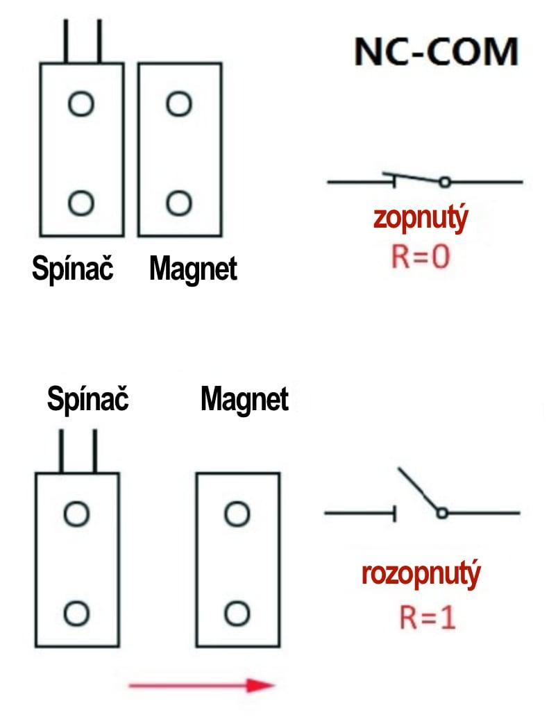 Schéma zapojenia magnetický spínač