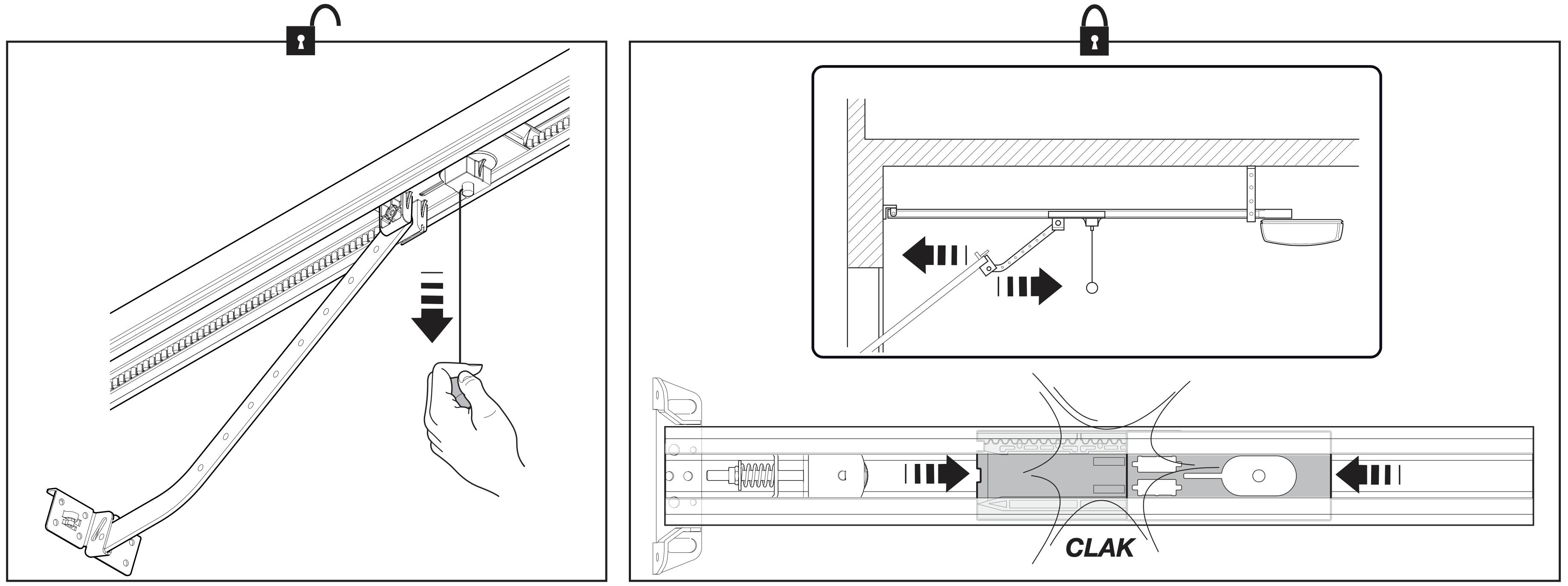 NICE SNA30 koľajnica - ručné odblokovanie