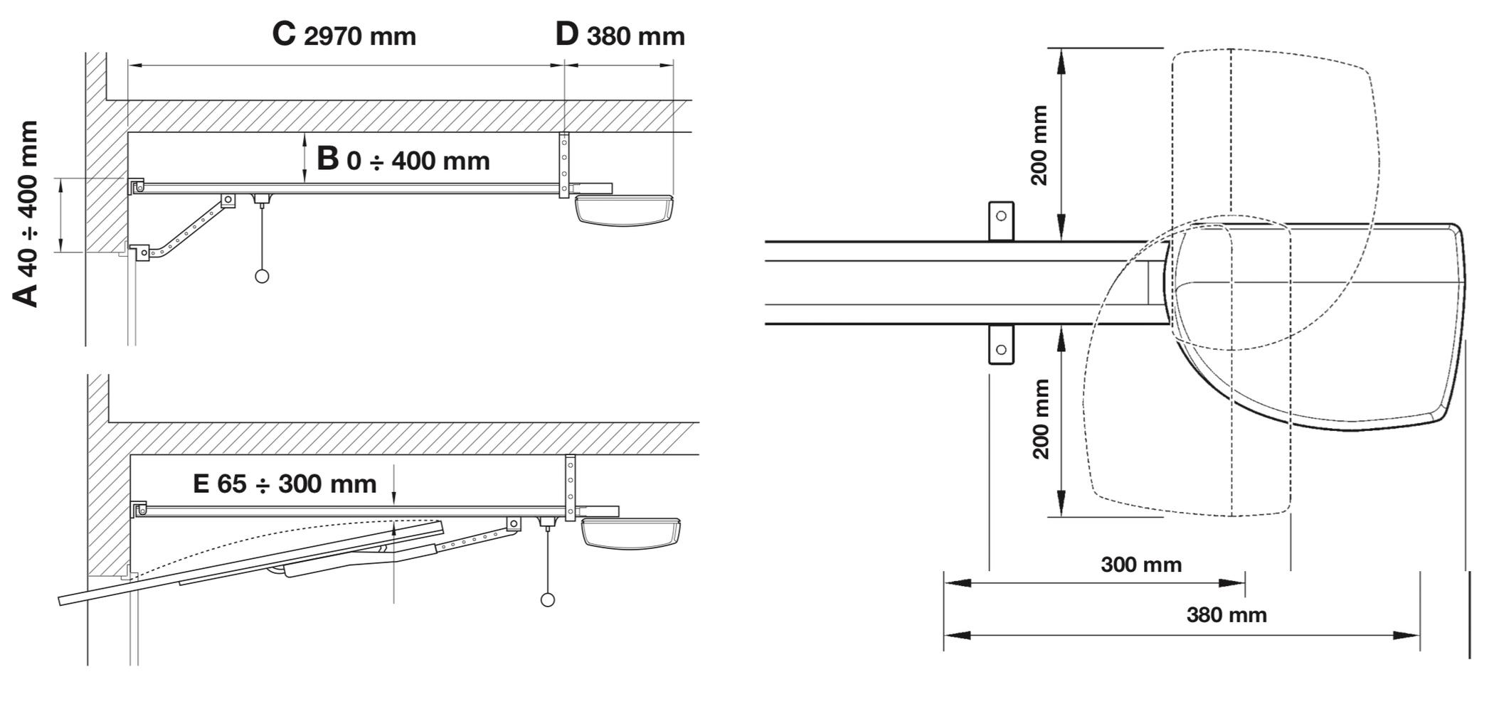 NICE SPIN11KCE sada pohonu garážovej brány - základné rozmery